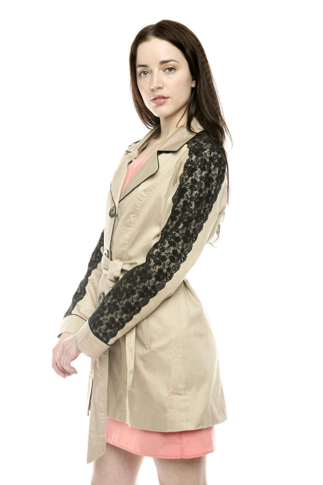Lace Shoulder Trench