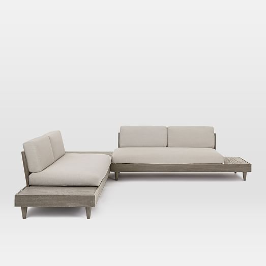 Portside Outdoor Low 3 Piece L Shaped Sectional W Corner Coffee Table Sectional Outdoor Sectional Sofa 3 Piece Sectional