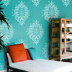 Grande Bombay Paisley Wall Motif Stencil-- maybe something like this for our office :)