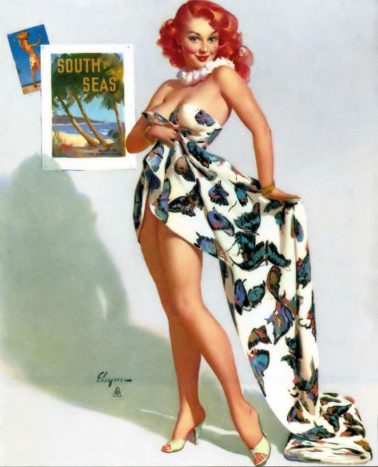 """Great American Pin-up - Gil Elvgren - """"Fit to be Tied"""" 1956 -  She was one of the features in a small seasonal calendar from Elvgren called """"Annual Report, fascinating figures in the 1950's."""
