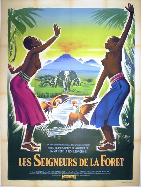 Grinsson - Les Seigneurs de la Fôret - African vintage poster featuring two half-naked women dancing in the Congo wilderness