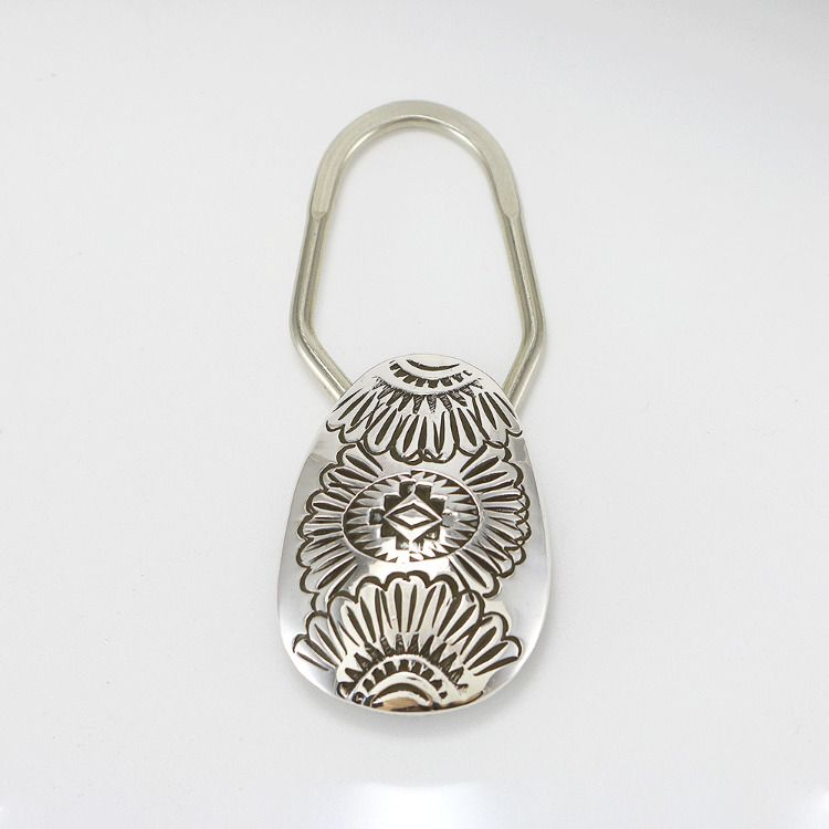 Native American Indian Navajo Hand Stamped Sterling Silver Key Ring Shirley Skeets 2 12