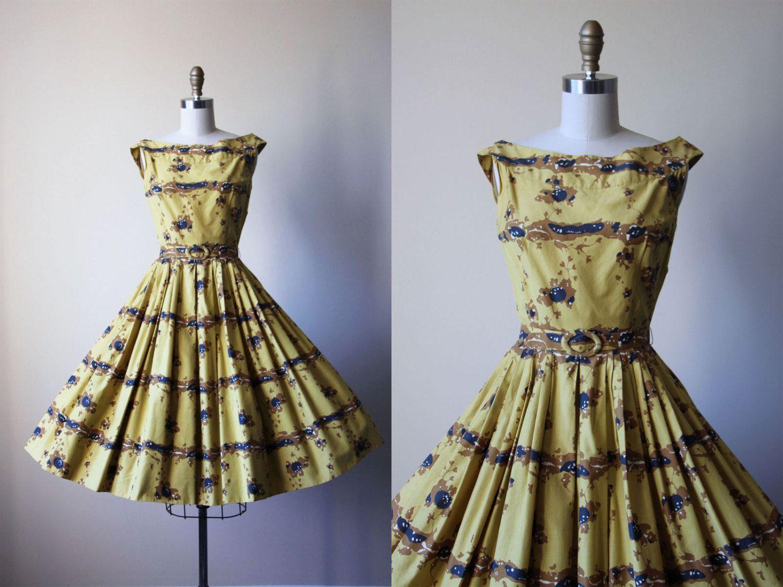 50s Dress - Vintage 1950s Dress - Mustard Brown Black Border Print Floral Full…