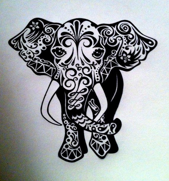 Custom elephant ink drawing black white commissioned by for Custom henna tattoo