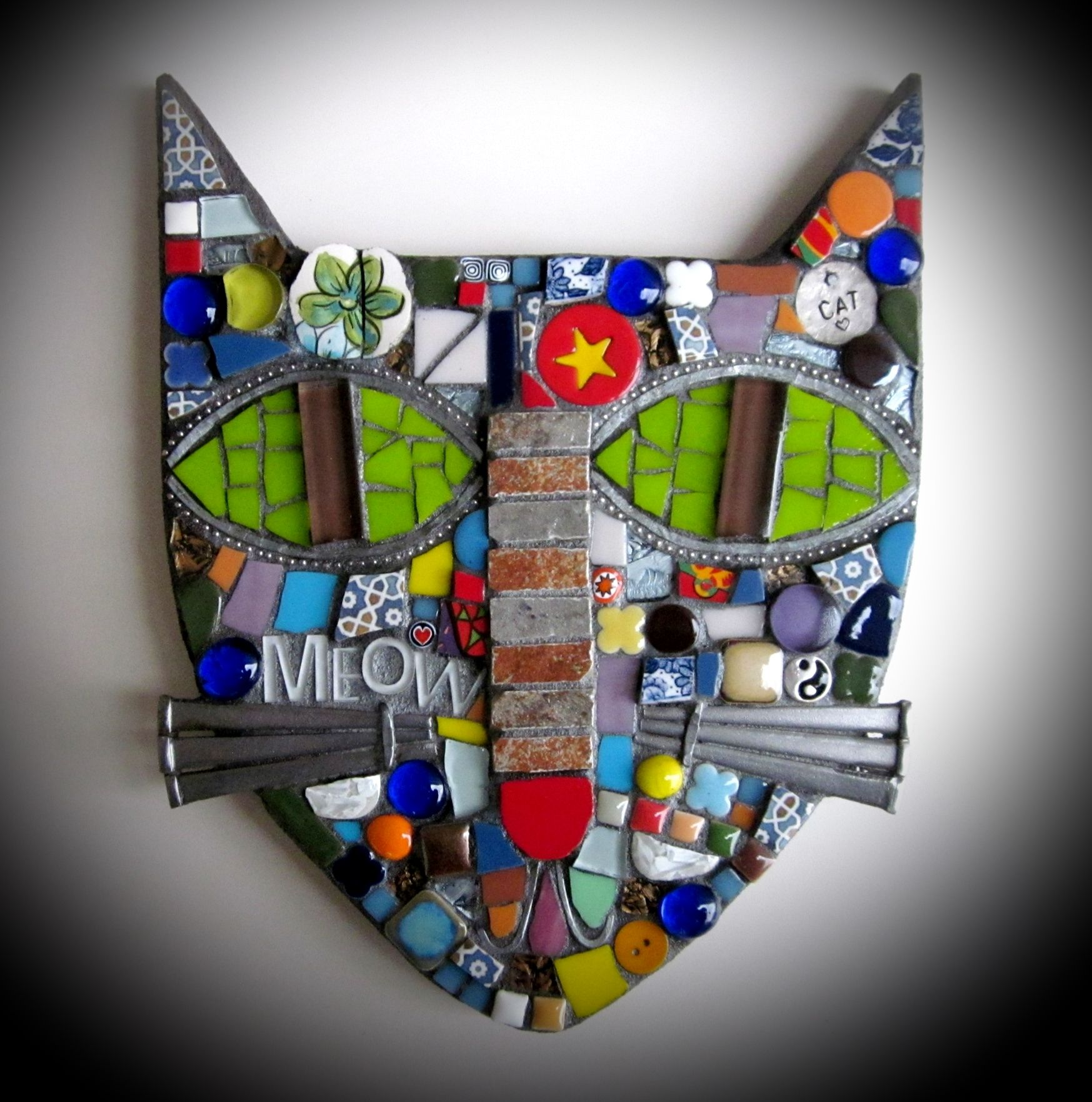 Sold custom made butterfly mosaic table top for mary ann in texas - Cat Mosaic Cat Mixed Media Assemblage Art Stained Glass Polymer Clay Art Cat