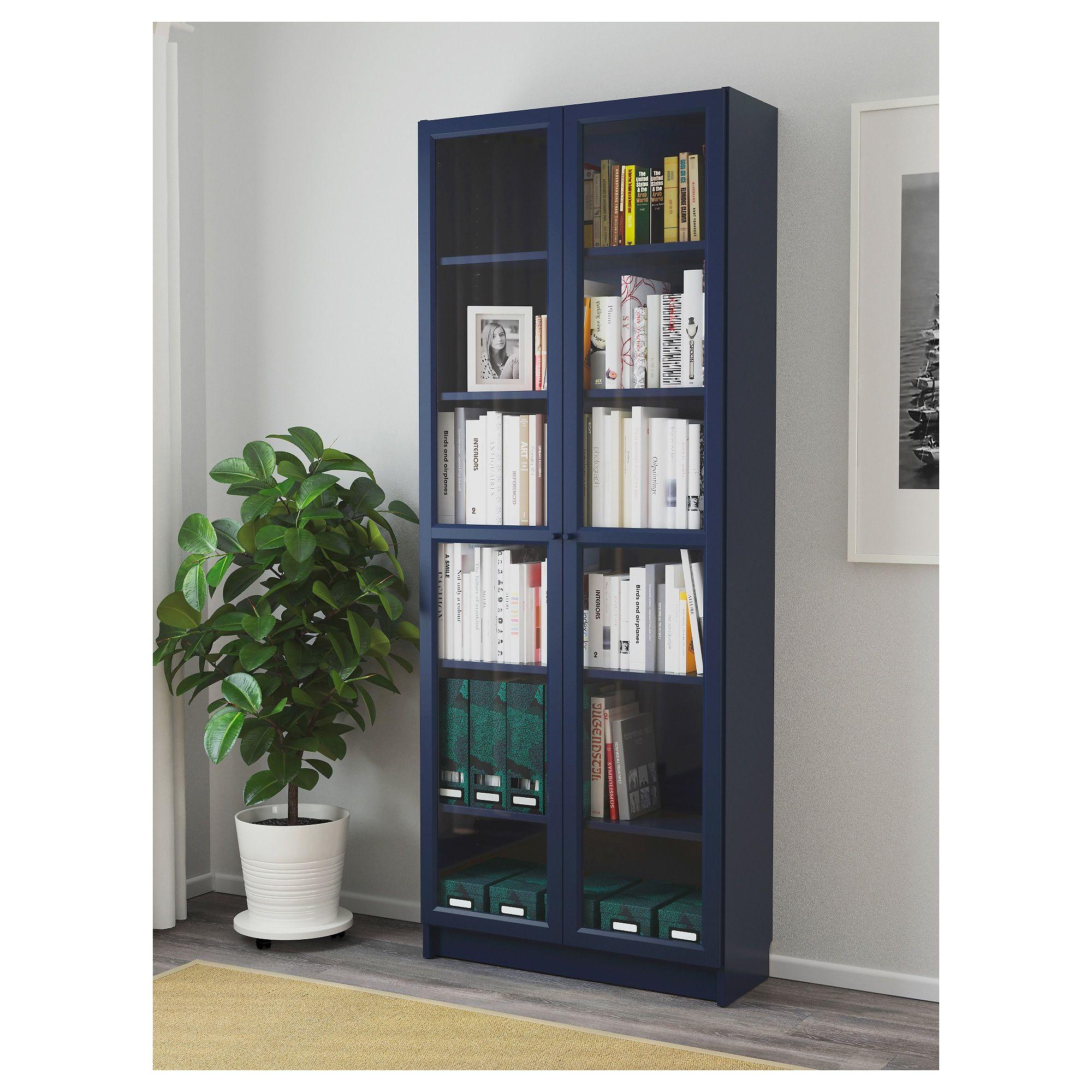 billy bookcase with glass doors dark blue in 2019 cin bookcase rh pinterest com