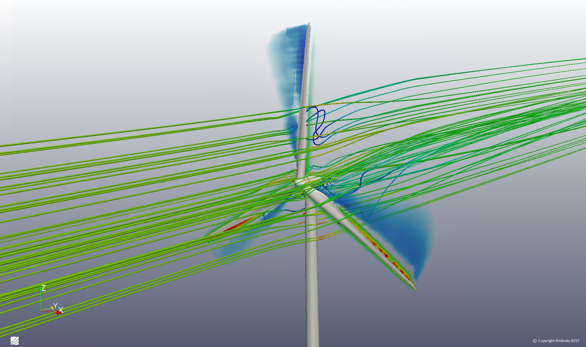 Simulation of the airflow around a wind turbine: https://www.simscale.com/projects/jprobst/simulation_of_the_air… | Computational fluid dynamics, Wind turbine, Wind