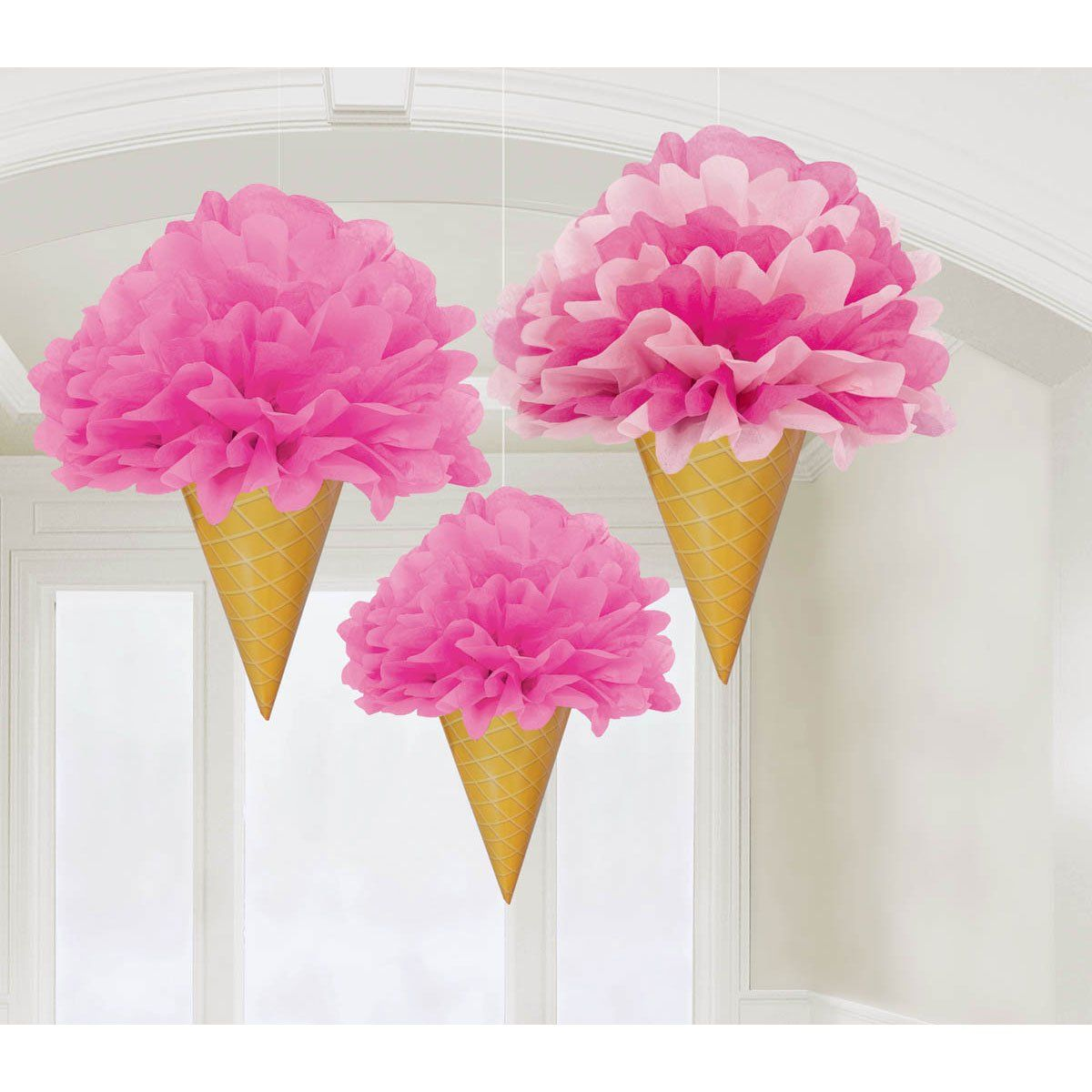 amazon com pink ice cream cone fluffy decorations 3 pack toys rh pinterest com
