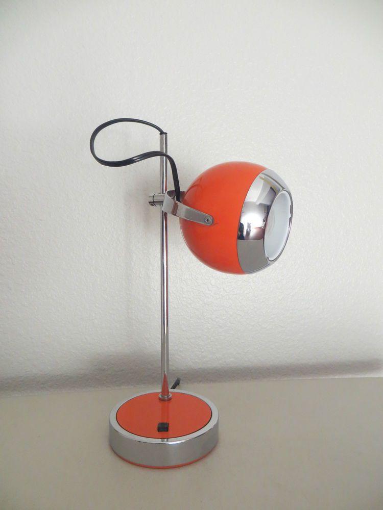 Vintage Mid Century Mod Hamilton Desk Lamp Light Orange Chrome Eyeball Space Age Lamp Desk Lamp Lamp Light