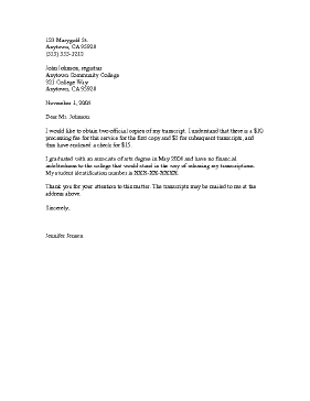 A Customizable Letter Students Can Use To Request A Copy Of A High