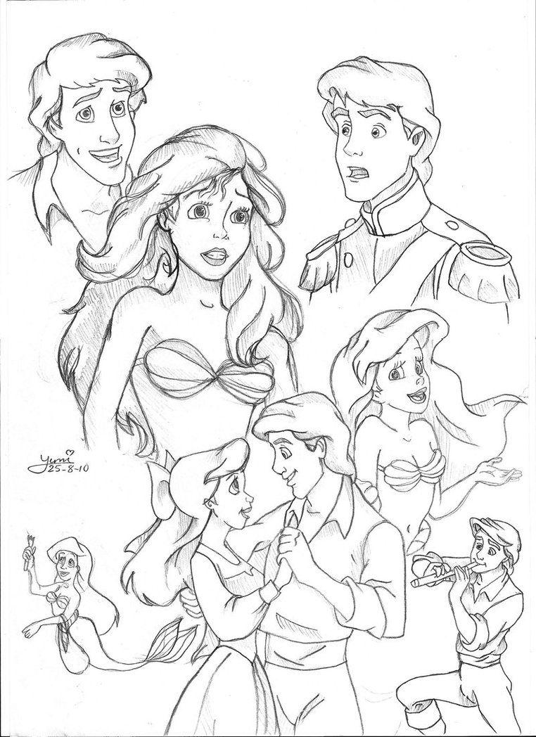 Ariel and Eric Doodles by Yumi mystery on deviantART Ariel