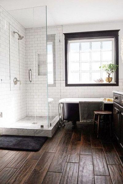 wood tiles bathrooms modern farmhouse bathroom wood tile floors rh pinterest com