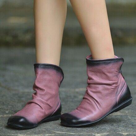 春秋平底靴拼色女靴森女短靴粉红色马丁靴手工擦色舒适平跟女鞋子-淘宝网