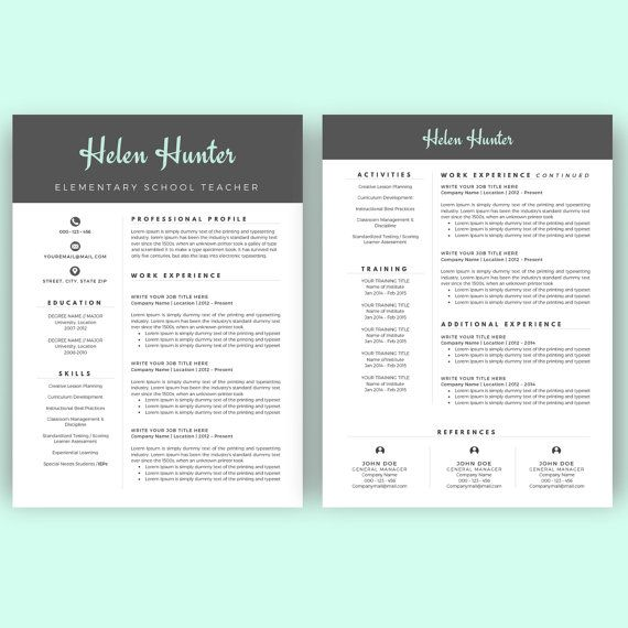 Resume Template Cv Template For Word Two Page Resume Cover Etsy Teacher Resume Template Teacher Resume Resume Template
