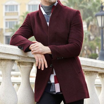 bcb274d4351 Winter Mid-long Business Casual Wool Trench Coat Slim Fit Jacket for Men