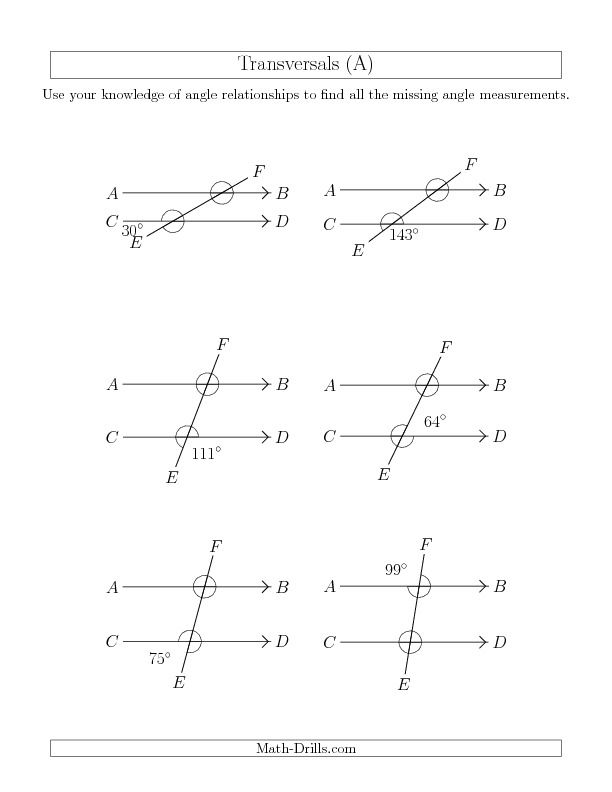 Angle Relationships in Transversals A New 20130717 – Angle Relationships Parallel Lines Worksheet