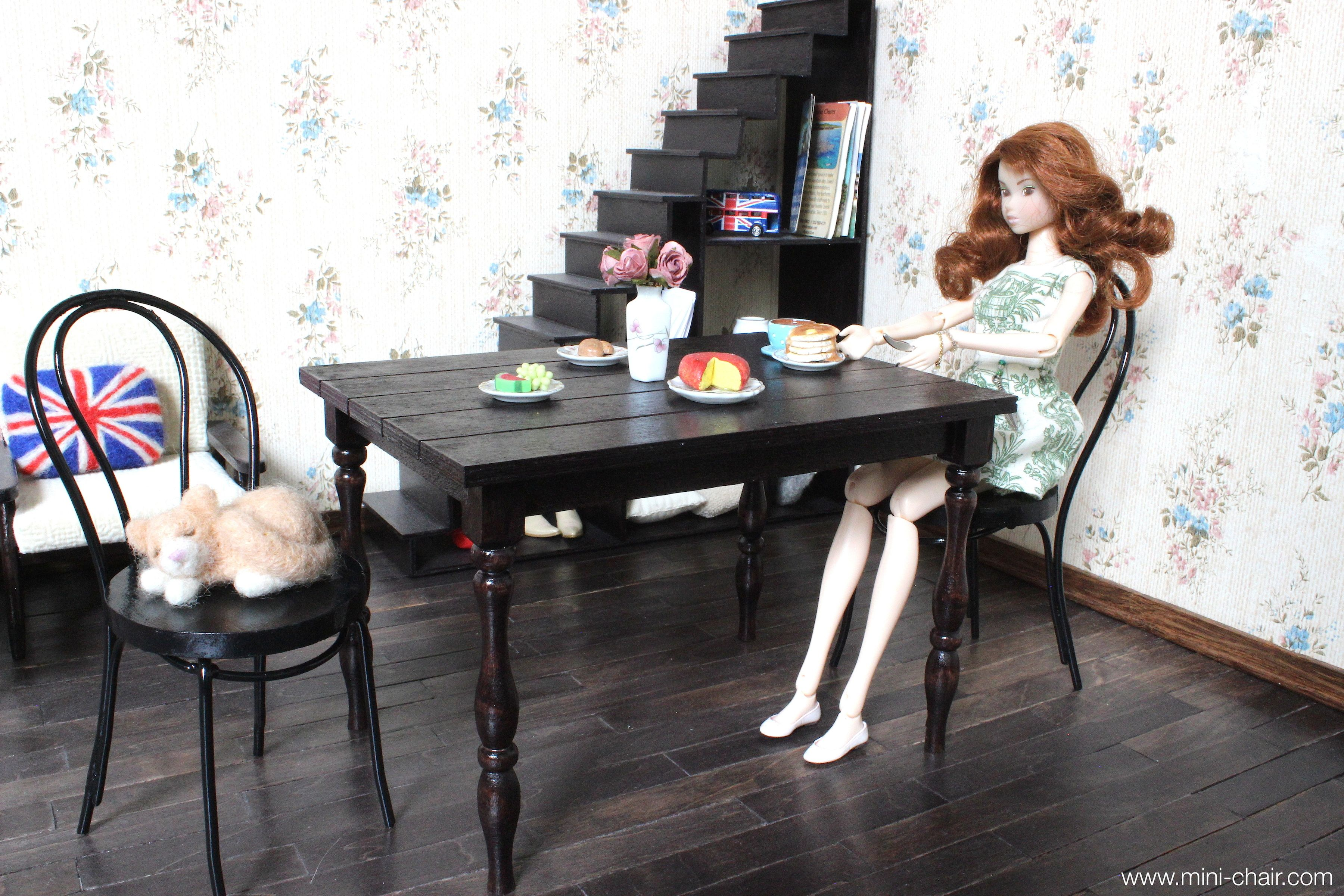 1 6 scale miniature table and 2 bentwood chairs set for dolls rh pinterest com