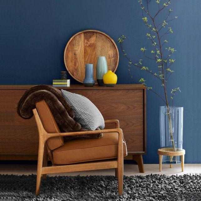 Peinture, mat poudré, couleur bleu de chauffe, AmPm Home - repeindre du papier peint