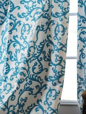 Loving Turquoise Teal Curtains Printed Cotton Curtain Homemade