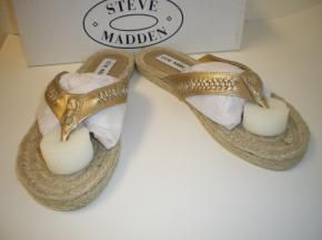 Steve Madden Gold Leather Shoes Woman's Size 7 M New in Box