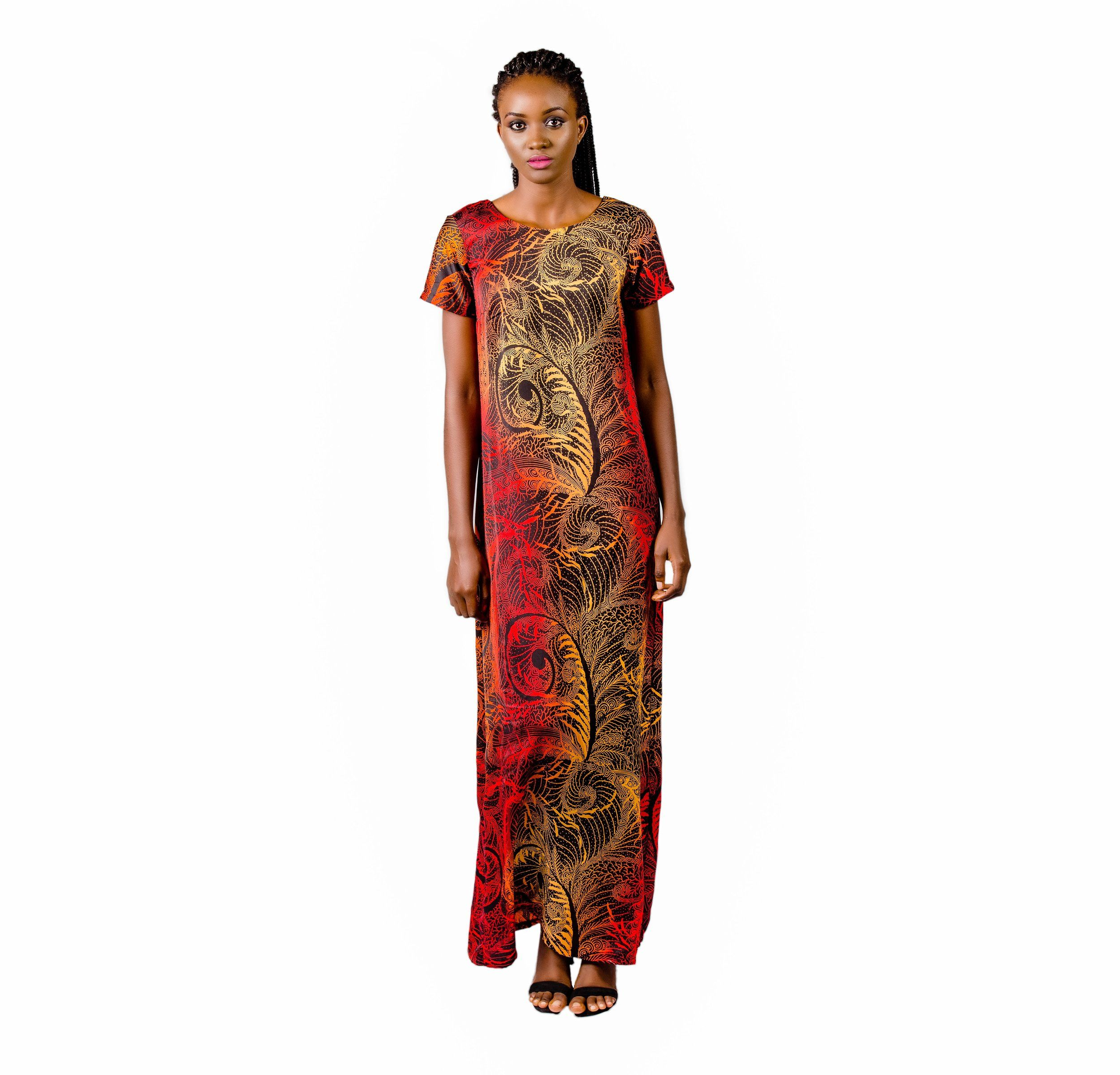 This fiery Silk Bubu dress assures a