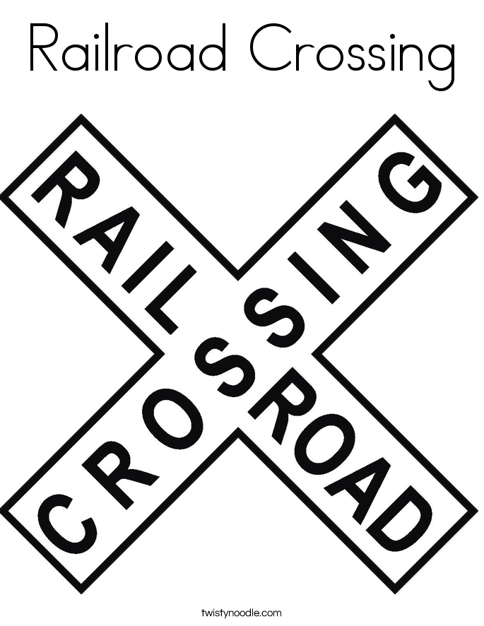 image of train signs  Rail Road Signs Railroad crossing coloring