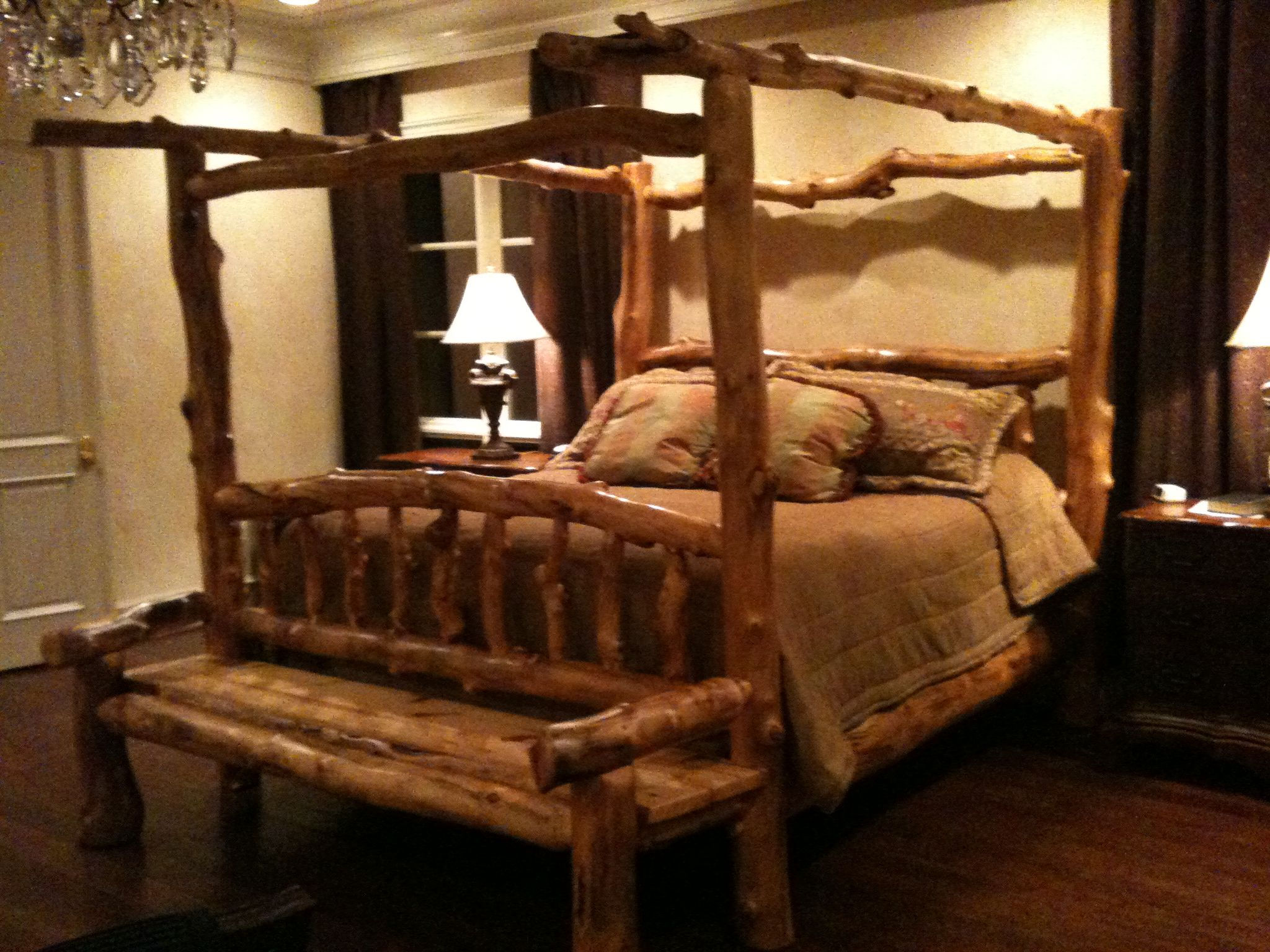 Awesome King Log Bed 1700 00 Has Attached Bench From Colorado Very Heavy Iconsignfurniture Gmail Com Bed Home
