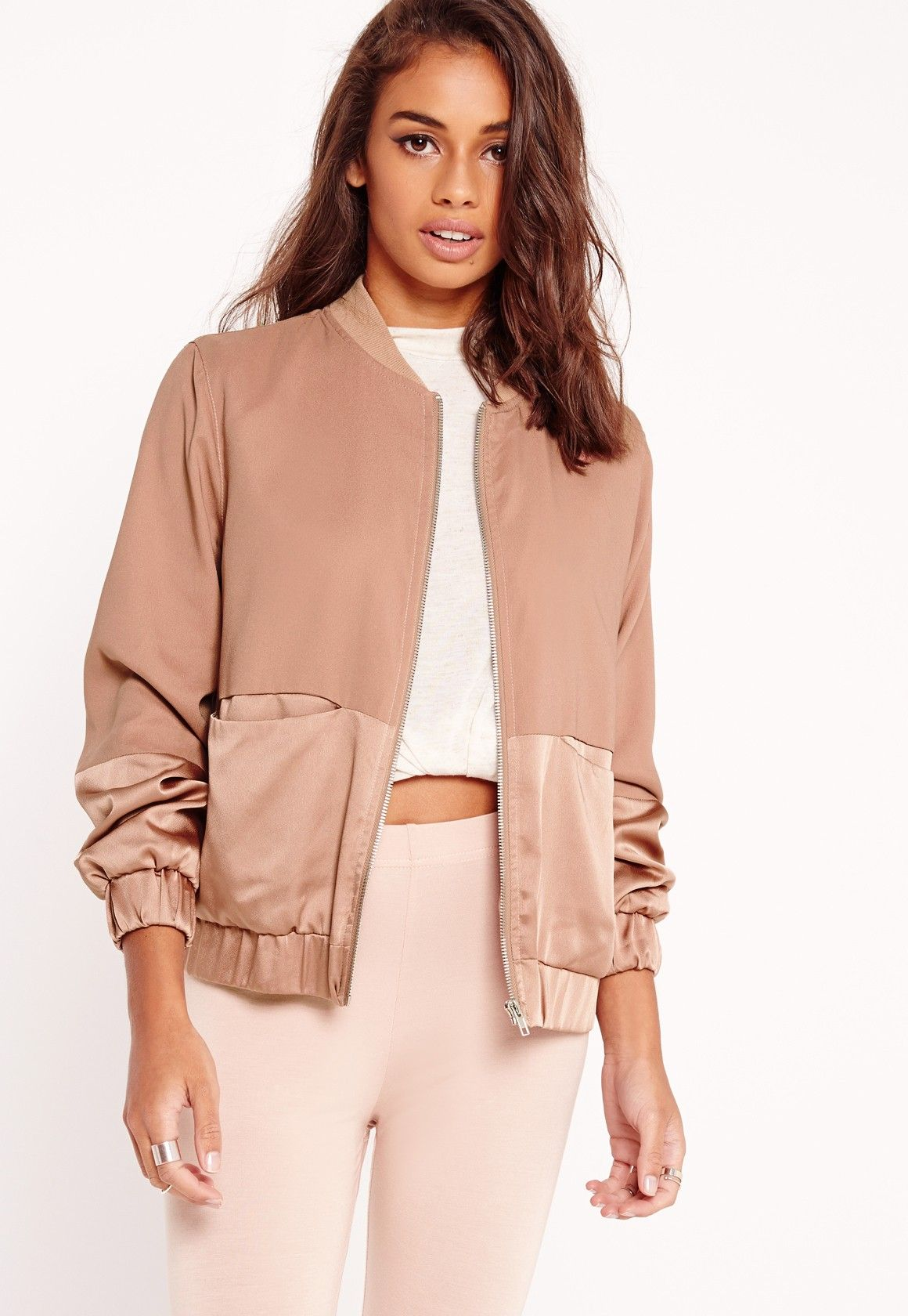 cfb53d2d6f0e4 Petite Satin Two Tone Bomber Jacket Camel in 2019 | HbH- August ...