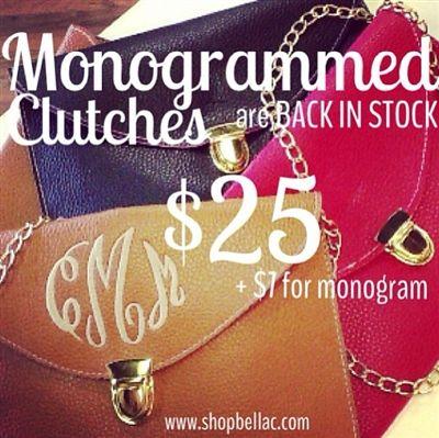 Perfect Christmas Present idea! #monogram #clutch #crossbody #purse #shopbellac #love