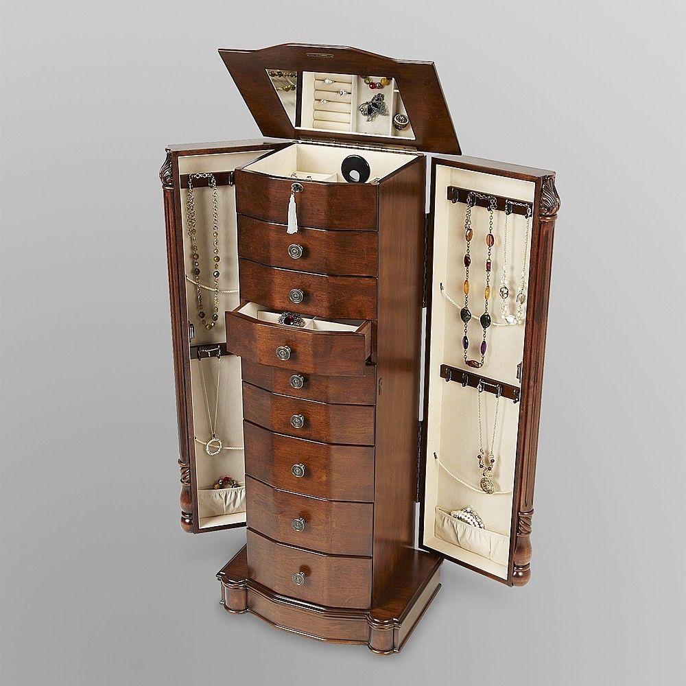 Mirrored Wood Jewelry Free Standing Stand Organizer Storage Box