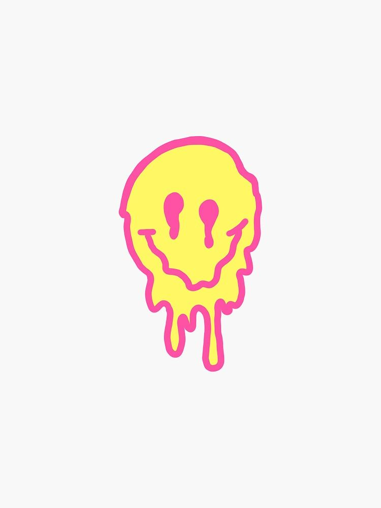 Pink/Yellow Drippy Smiley Face Sticker