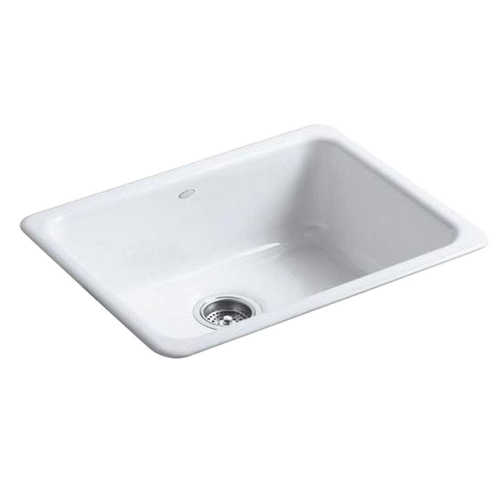 kohler iron tones drop in undermount cast iron 24 in single basin rh pinterest com