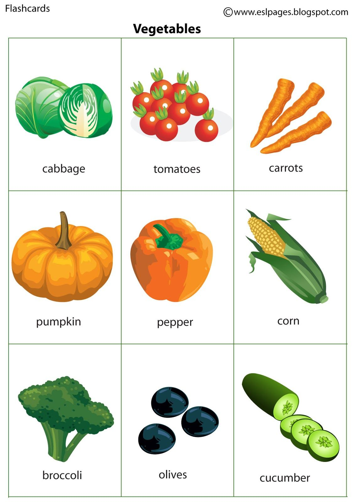 Esl Pages Vegetables