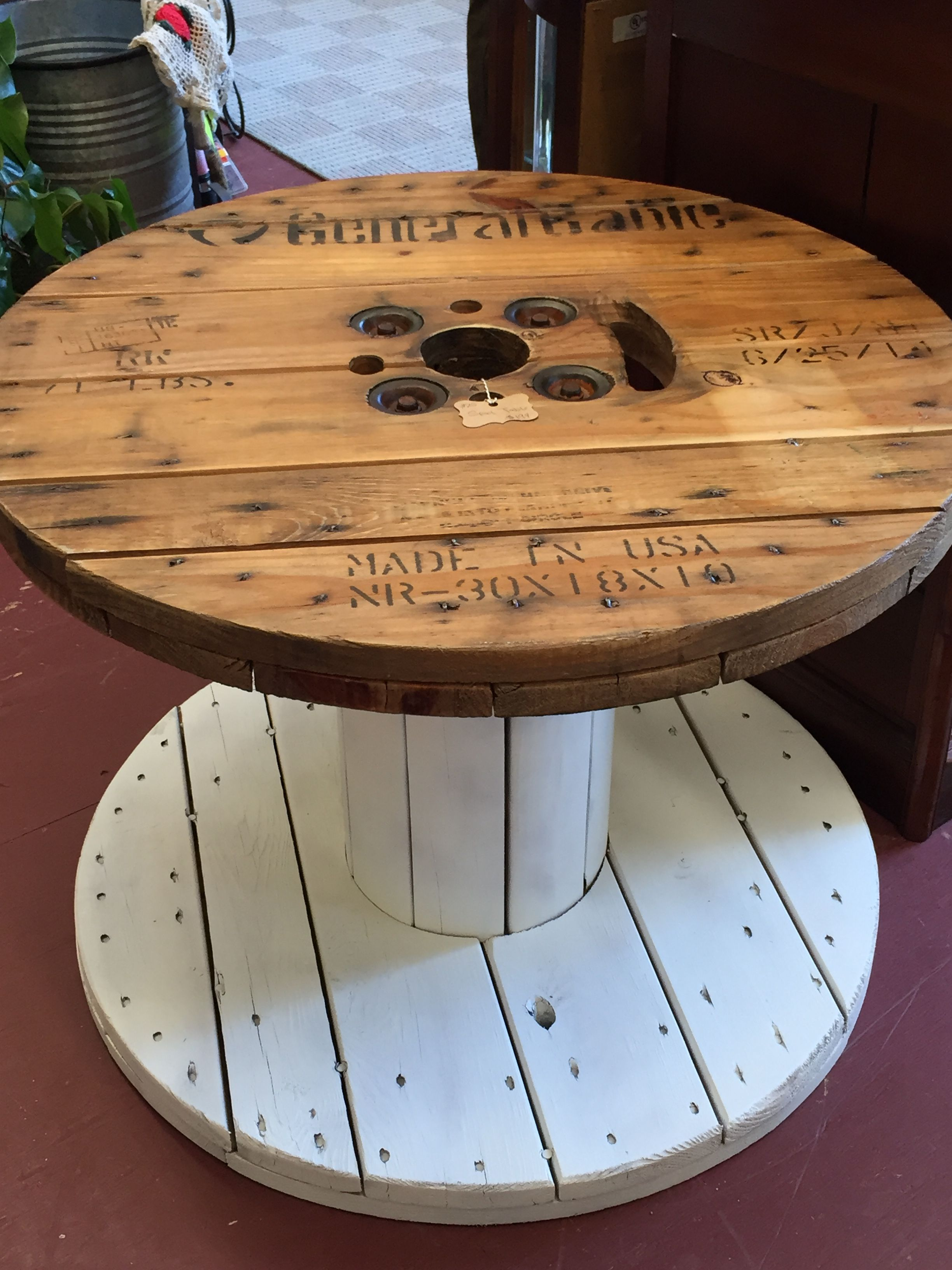 hand painted spool table made from old cable spool furniture in rh pinterest com