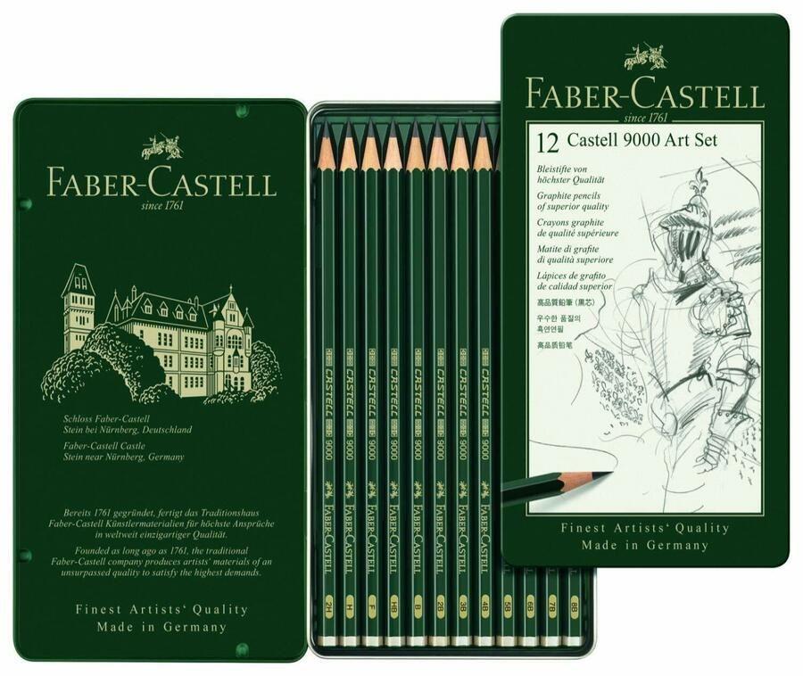 Faber-Castell Graphite pencil CASTELL 9000 Tin of 6 8B 6B 4B 2B B HB Sketching