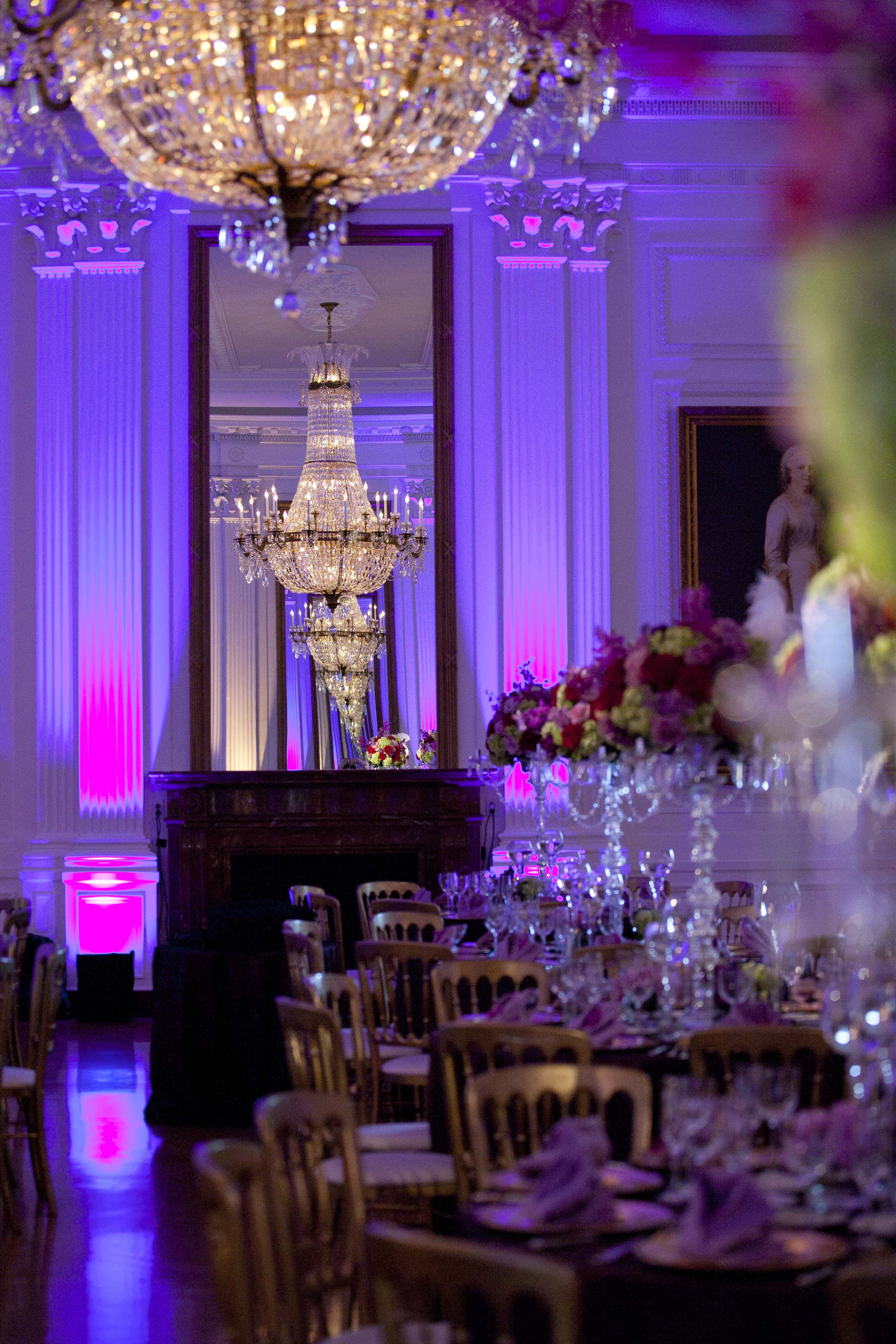 black white purple wedding reception%0A Amazing wedding reception set up in the Nixon Library East Room  So much  you can do with this space regarding lighting and decoration to make it lo u