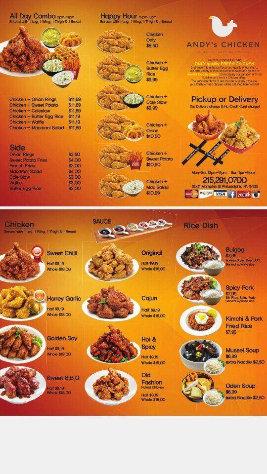 Andy S Chicken Is Now Open Foobooz Chicken Menu Chicken Sweet Potato 99 Chicken