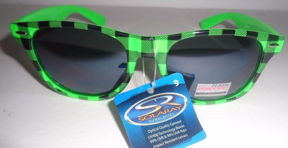 b512843b03 Solaray Black   Green Plaid Flash Mirror Sunglasses NWT Max 400 Protection   Solaray