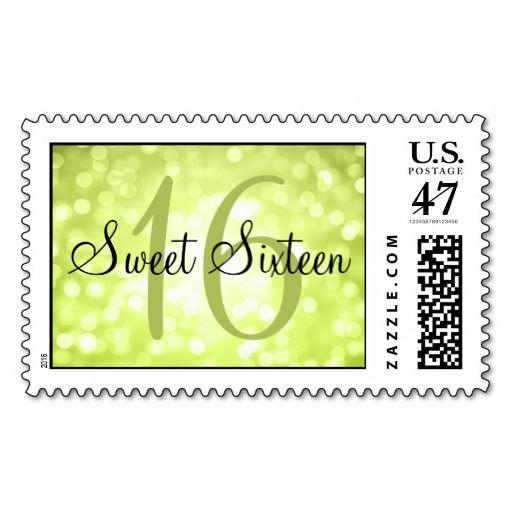 Elegant Sweet 16 Birthday Lime Glitter Lights