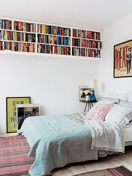 making use of space in bedroom by putting bookshelves high up my rh pinterest com