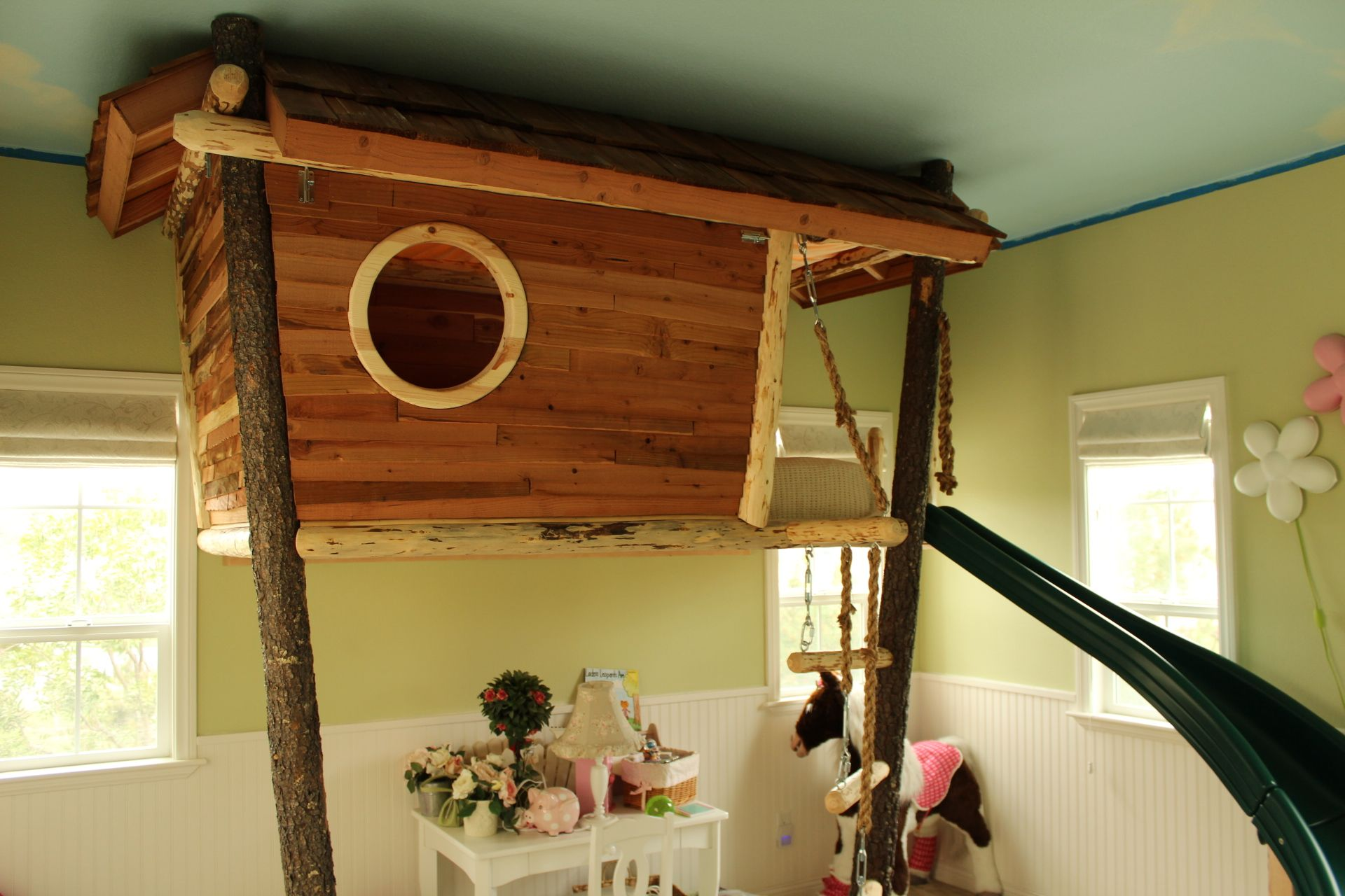 Custom FULL playhouse loft bed with slide and drawer