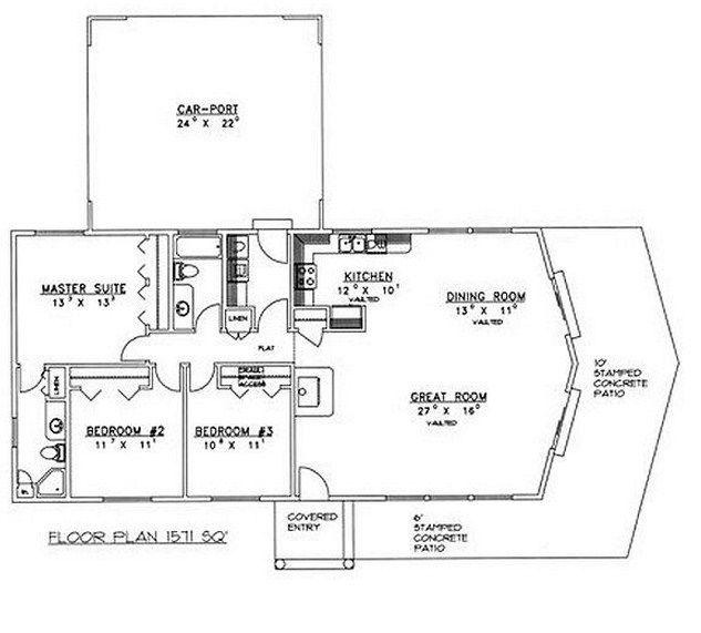 Plano de casa de 3 dormitorios 2 ba os y cochera planos para casas pinterest cochera - Planos de cuartos de bano ...