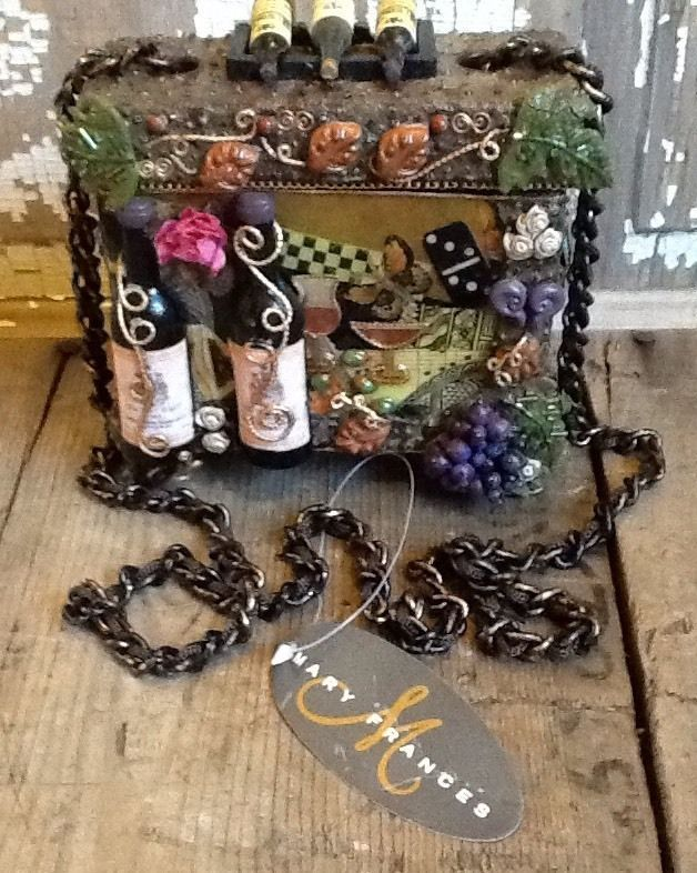 Mary Frances Retired Cheers Wine Folk Art To Wear Handbag Nwt New