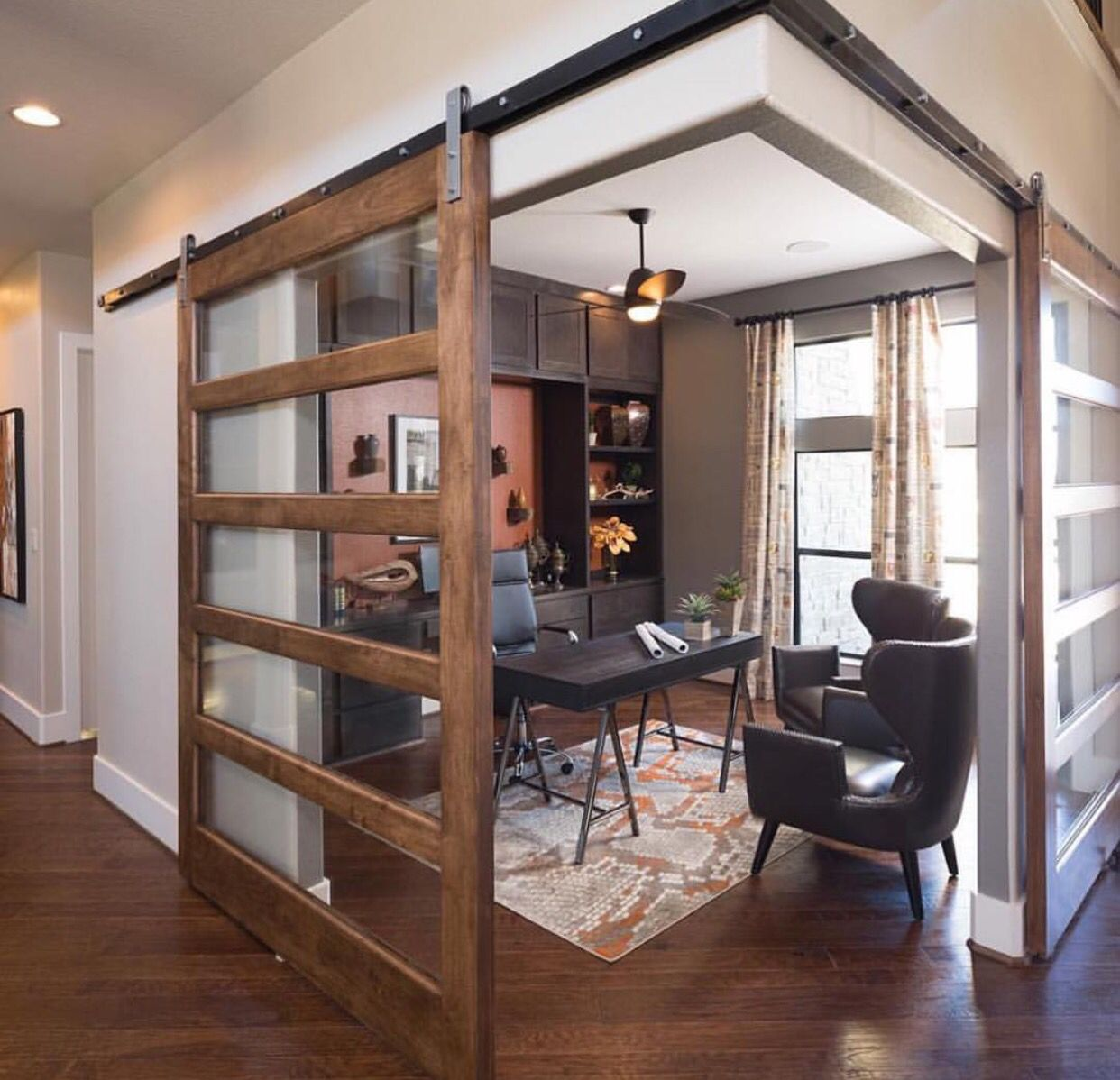 20 Home Offices With Sliding Barn Doors: Corner Barn Doors With Modern Glass