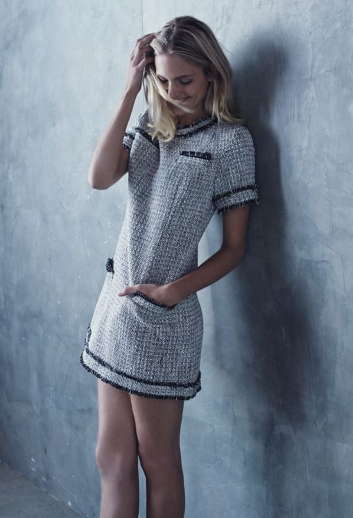 Chanel black and white tweed dress