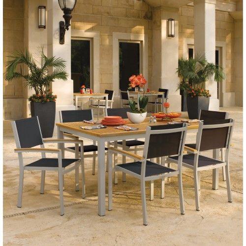 Oxford Garden Travira Aluminum 7 Piece Rectangular Patio Dining Set