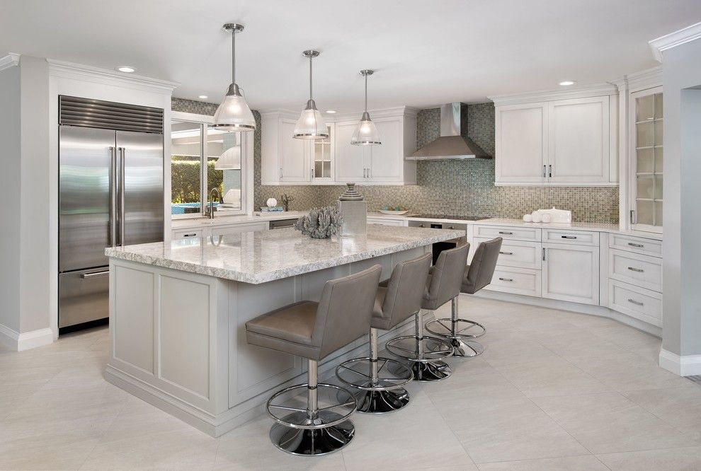 Light Granite Countertops With Coffered Ceiling Eat In Kitchen