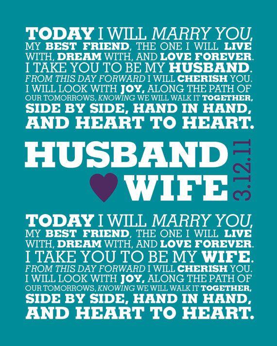 Wedding Anniversary idea! YOUR Wedding Vows / Modern Graphic ...