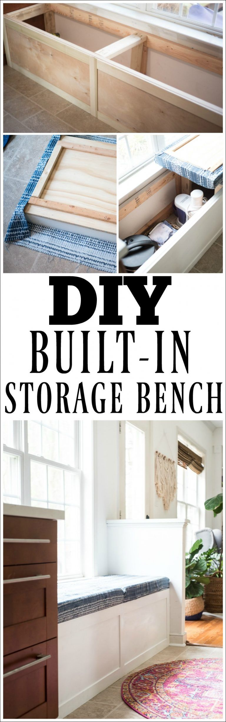 DIY BUILT-IN STORAGE BENCH TUTORIAL in 2020 | Diy storage ...