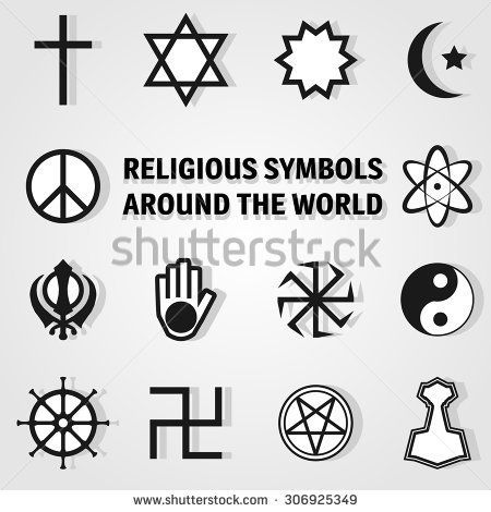 Ohm Stain Glass Religious Symbols Stock Photos Images Pictures
